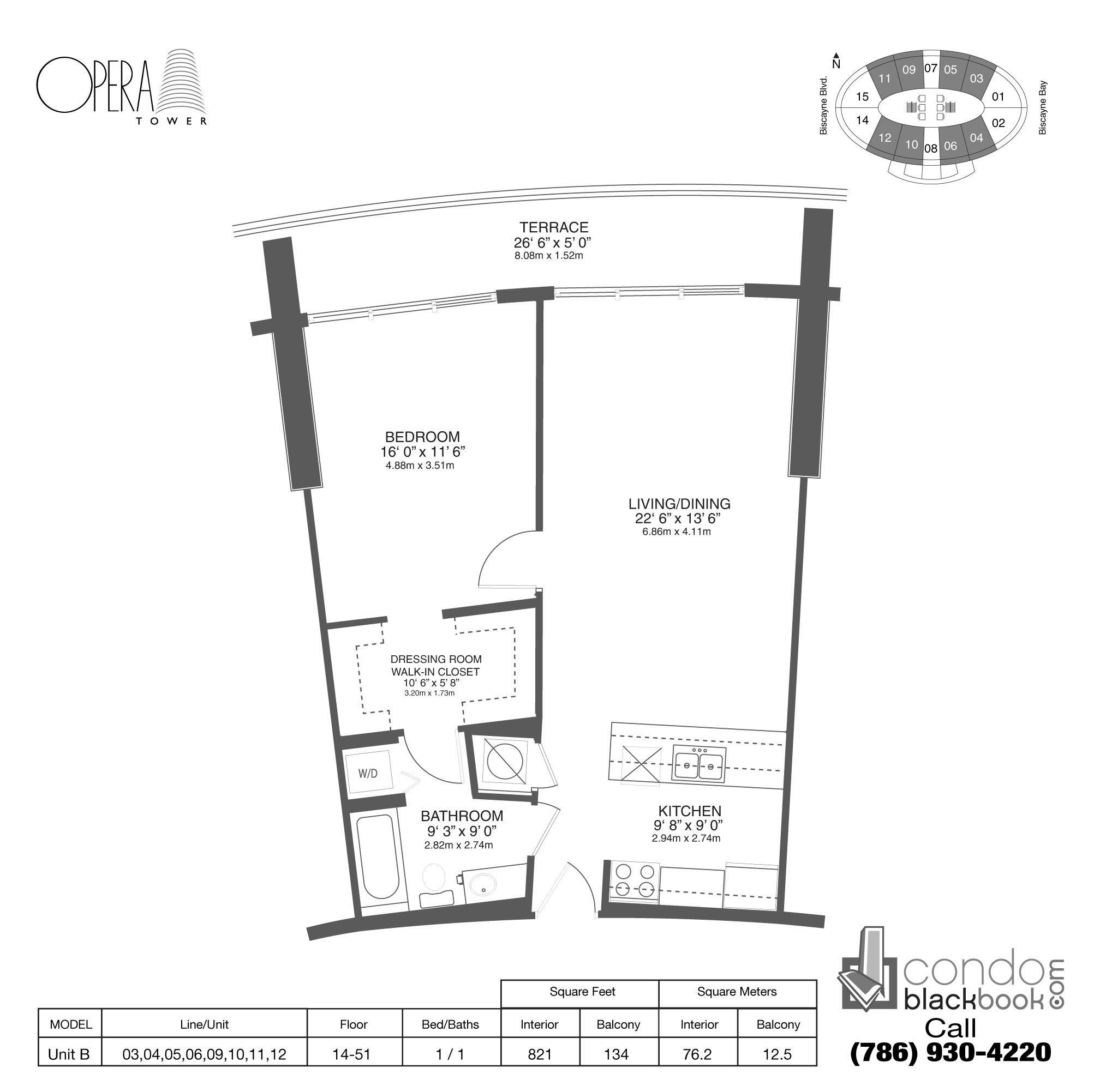Floor plan for Opera Tower Edgewater Miami, model Unit B, line 04, 1 / 1 bedrooms, 821 sq ft