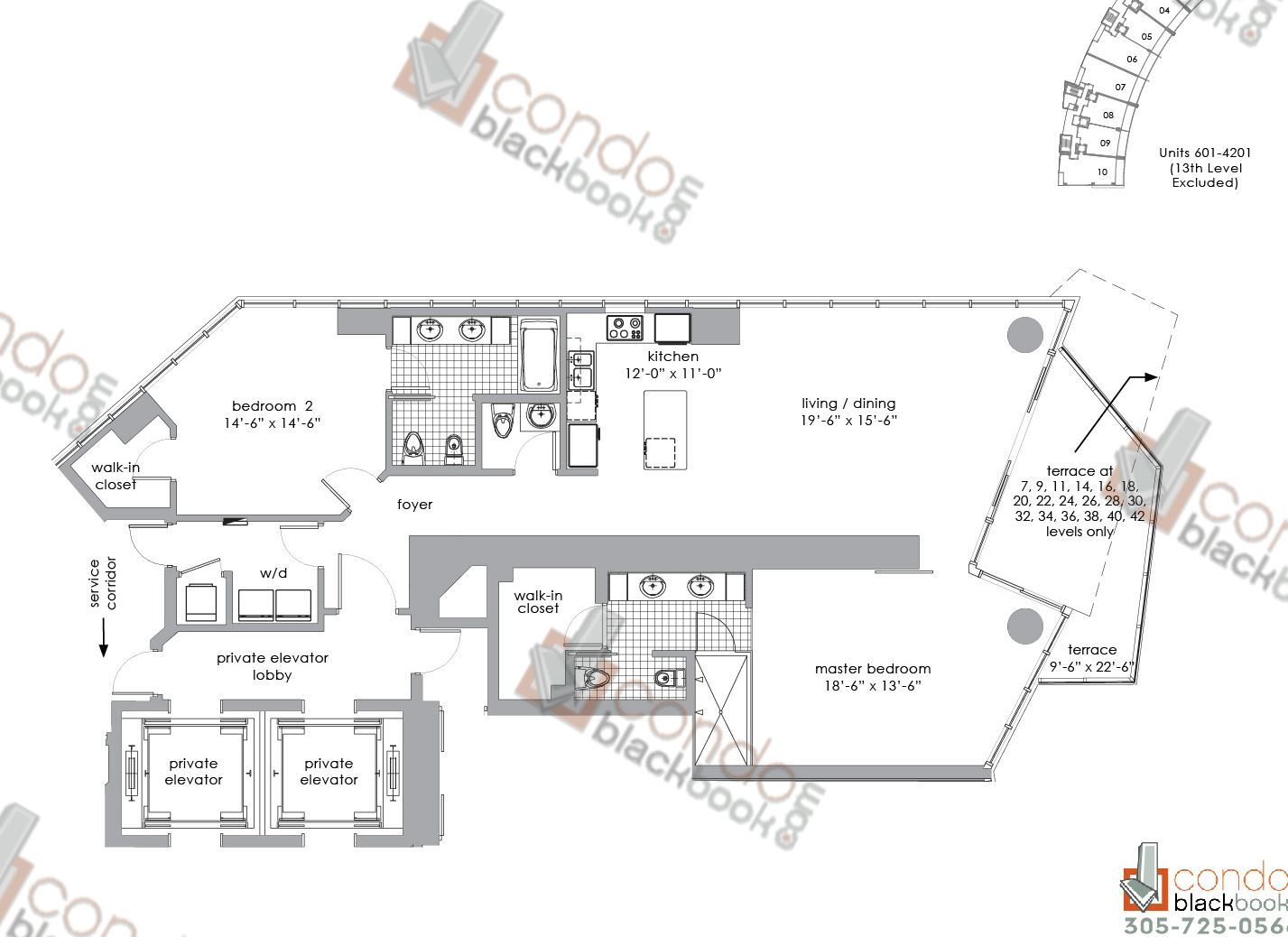 Floor plan for Paramount Bay Edgewater Miami, model 01, line 01, 2/2,5 bedrooms, 1,751 sq ft