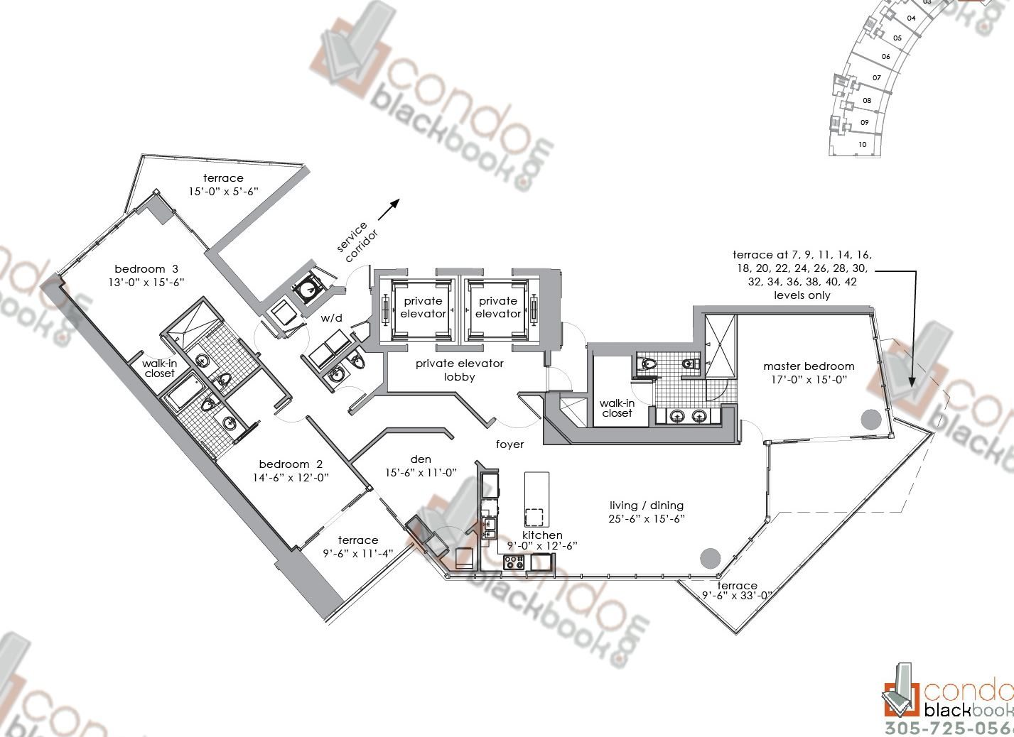 Floor plan for Paramount Bay Edgewater Miami, model 02, line 02, 3+Den/3,5 bedrooms, 2,353 sq ft