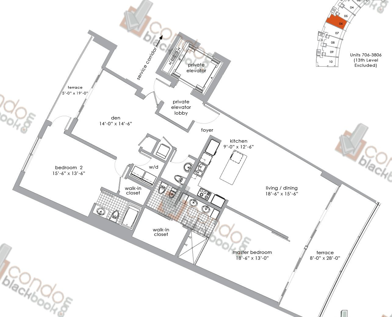 Floor plan for Paramount Bay Edgewater Miami, model 06, line 06, 2+Den/2,5 bedrooms, 1,782 sq ft