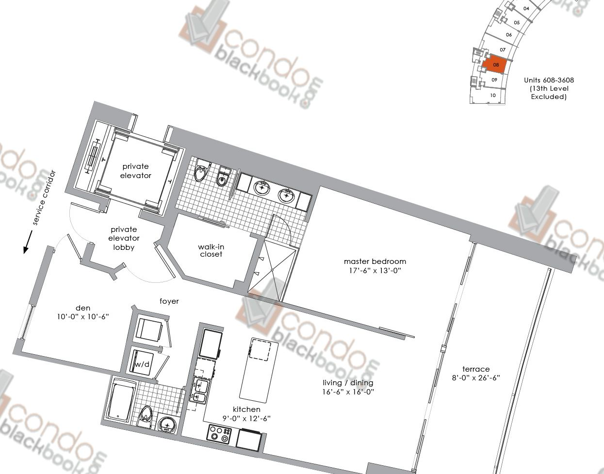 Floor plan for Paramount Bay Edgewater Miami, model 08, line 08, 1+Den/2 bedrooms, 1,214 sq ft