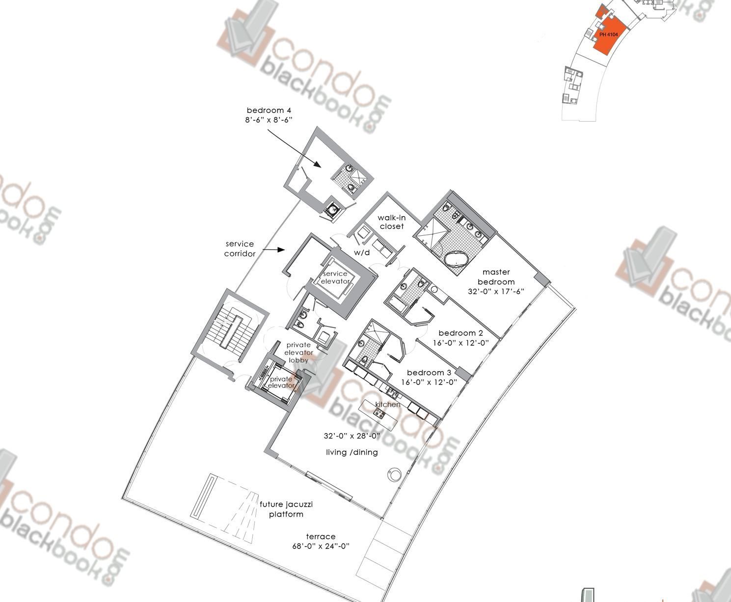 Floor plan for Paramount Bay Edgewater Miami, model PENTHOUSE 4104, line 04, 4/4,5 bedrooms, 3,003 sq ft