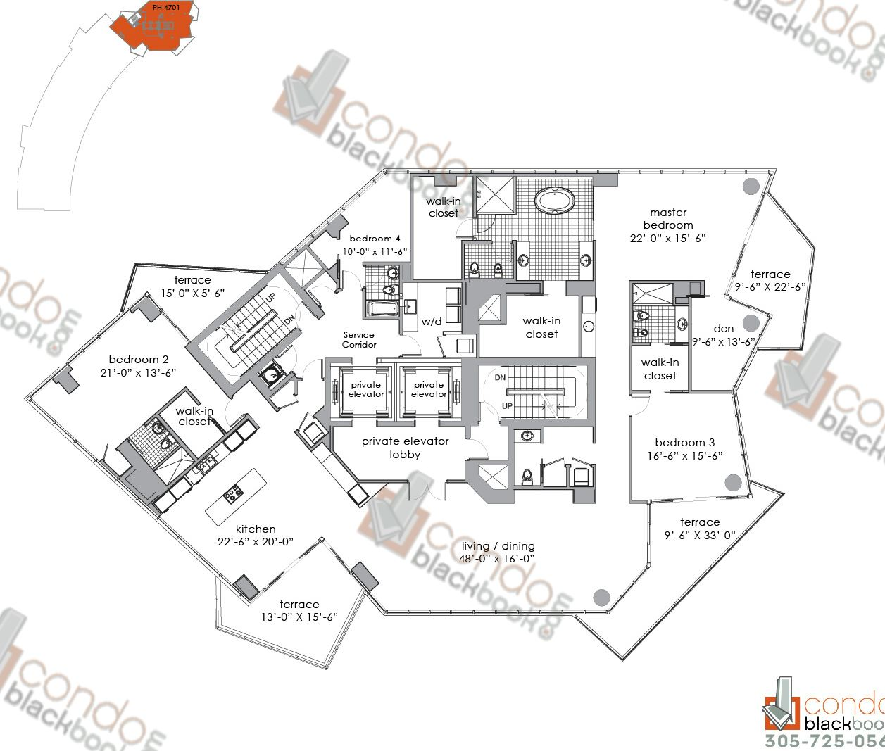 Floor plan for Paramount Bay Edgewater Miami, model PENTHOUSE 4701, line 01, 4+Den/4,5 bedrooms, 4,437 sq ft