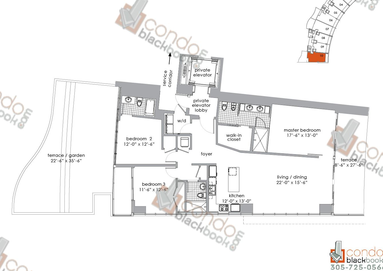 Floor plan for Paramount Bay Edgewater Miami, model RESIDENCE 610, line 10, 3/3 bedrooms, 1,818 sq ft