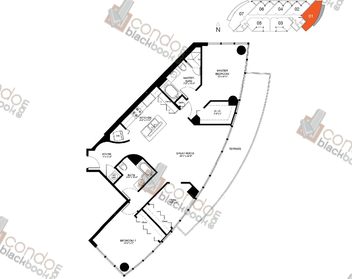 Floor plan for Platinum Edgewater Miami, model 01, line 01, 2/2+Den bedrooms, 1,363 sq ft