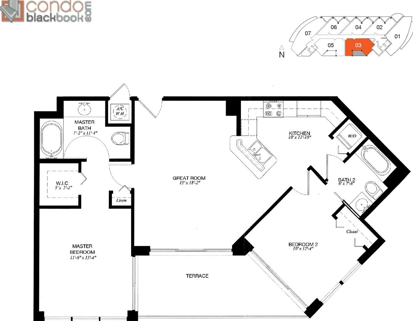 Floor plan for Platinum Edgewater Miami, model 03, line 03, 2/2 bedrooms, 1,007 sq ft