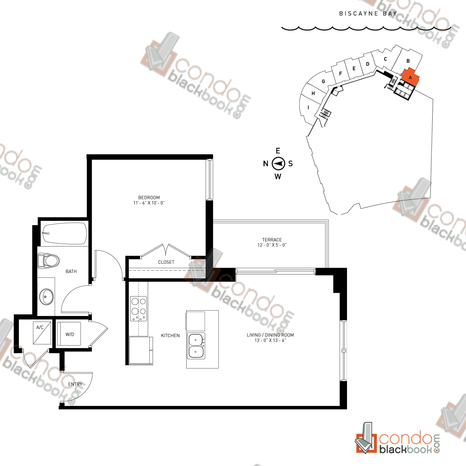Floor plan for Quantum on the Bay Edgewater Miami, model Loft_A, line South Tower - 01, 1/1 bedrooms, 651 sq ft