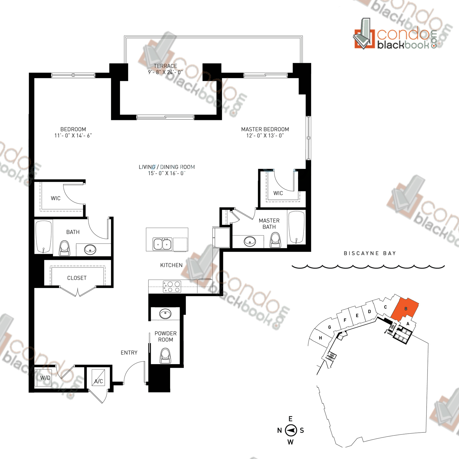 Floor plan for Quantum on the Bay Edgewater Miami, model Loft_B, line South Tower - 02, 2/2.5+Den bedrooms, 1,377 sq ft