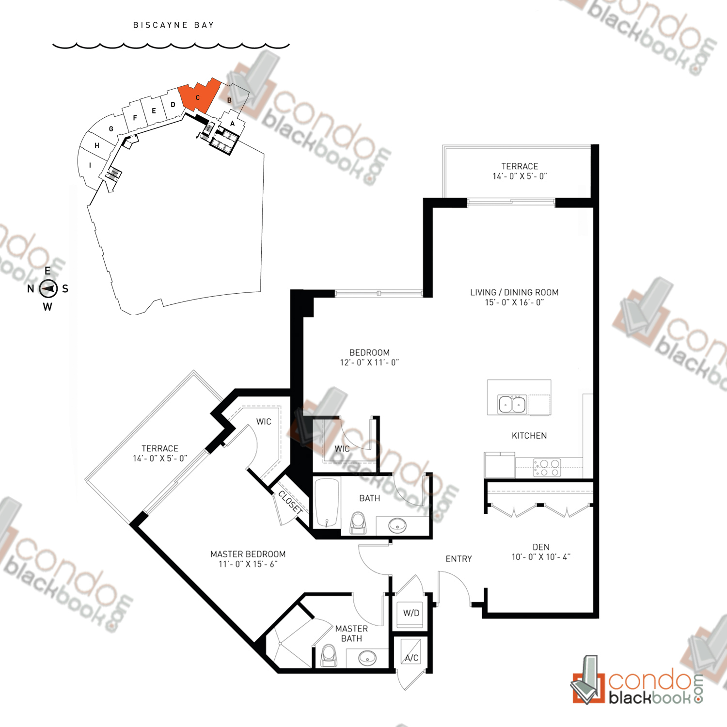 Floor plan for Quantum on the Bay Edgewater Miami, model Loft_C, line South Tower - 03, 2/2.5+Den bedrooms, 1,332 sq ft