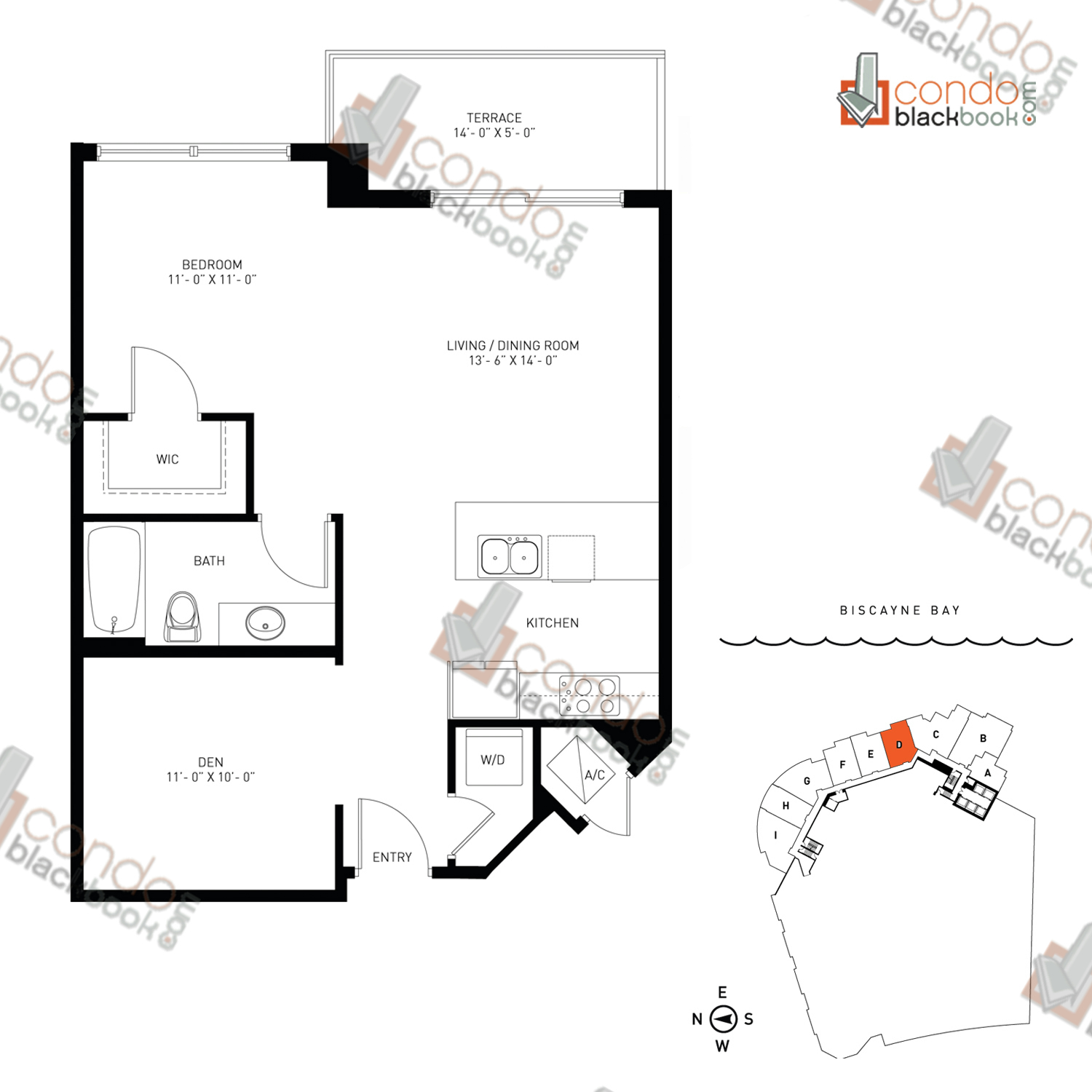 Floor plan for Quantum on the Bay Edgewater Miami, model Loft_D, line South Tower - 04, 1/1+Den bedrooms, 763 sq ft