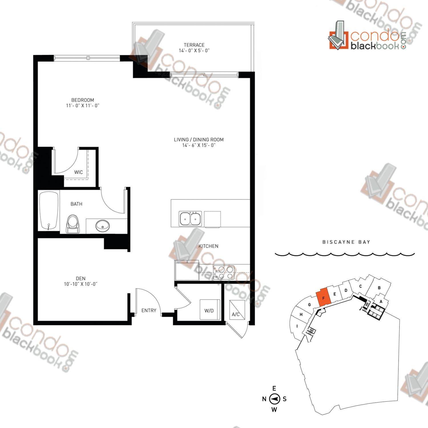 Floor plan for Quantum on the Bay Edgewater Miami, model Loft_F, line South Tower - 06, 1/1 +Den bedrooms, 816 sq ft