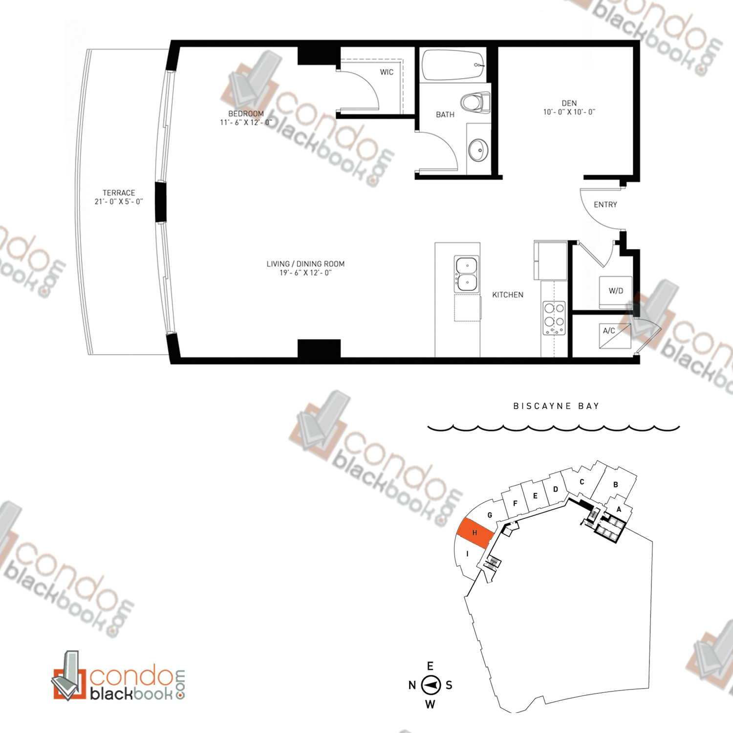 Floor plan for Quantum on the Bay Edgewater Miami, model Loft_H, line 08S, 1/1+Den bedrooms, 829 sq ft