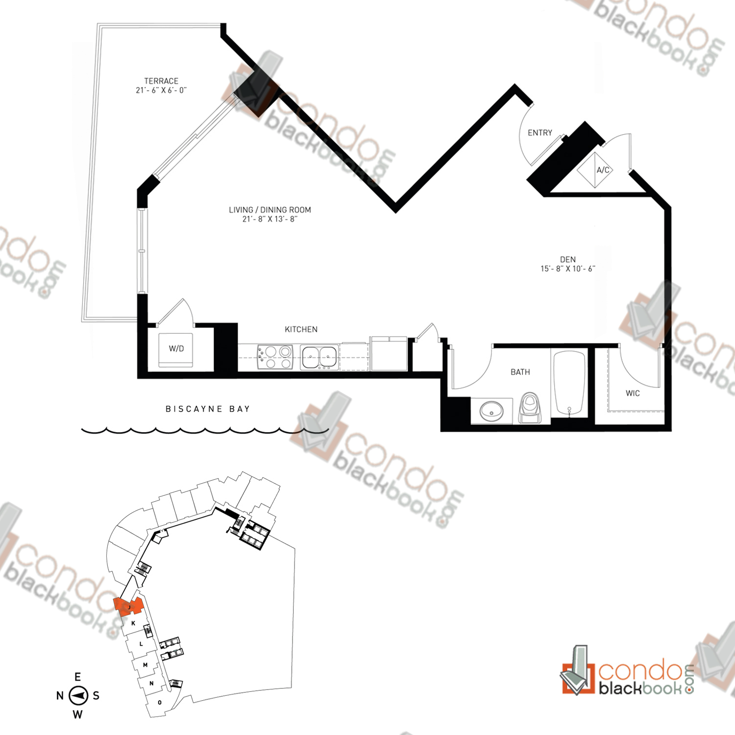 Floor plan for Quantum on the Bay Edgewater Miami, model Loft_J, line 10N, 0/1+Den bedrooms, 696 sq ft