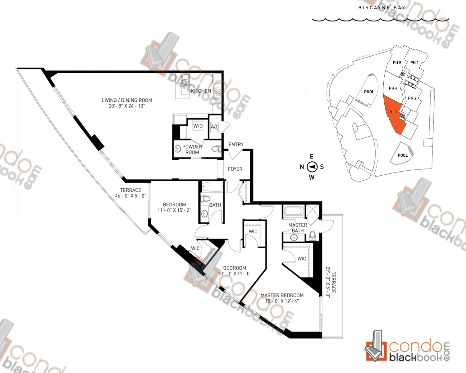 Floor plan for Quantum on the Bay Edgewater Miami, model PH_3, line South Tower - 05, 3/2.5 bedrooms, 1,902 sq ft