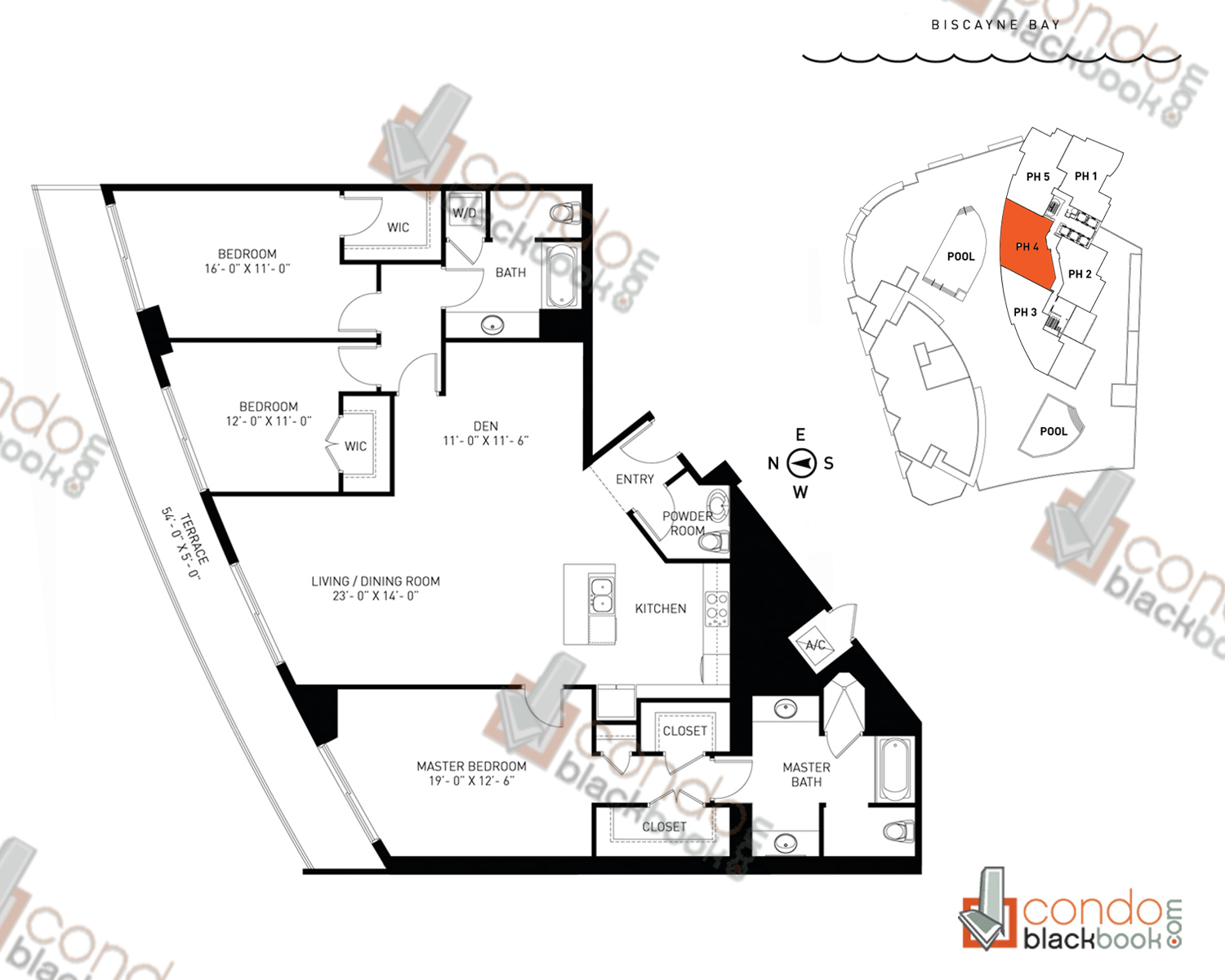 Floor plan for Quantum on the Bay Edgewater Miami, model PH_4, line South Tower - 04, 3/2.5 +Den bedrooms, 1,936 sq ft
