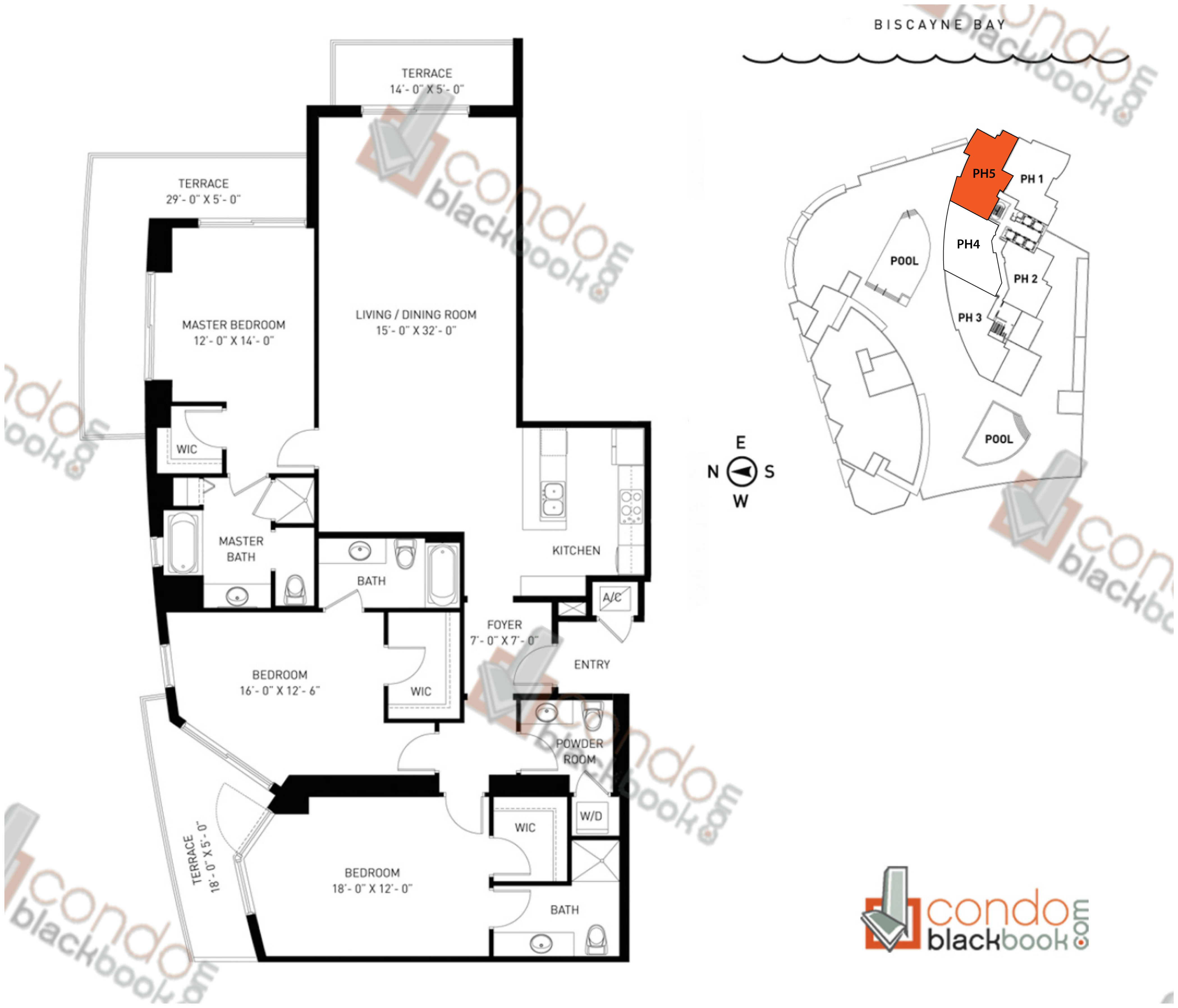 Floor plan for Quantum on the Bay Edgewater Miami, model PH_5, line South Tower - 02, 3/3.5 bedrooms, 1,970 sq ft