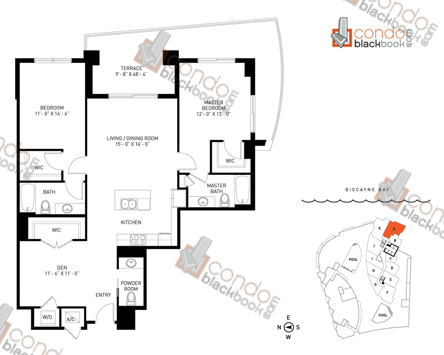 Floor plan for Quantum on the Bay Edgewater Miami, model Residence_A, line South Tower - 01, 2/2.5+Den bedrooms, 1,378 sq ft