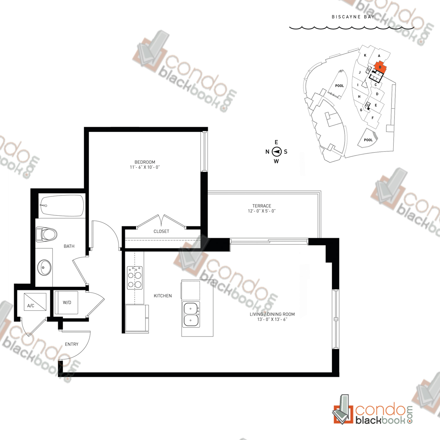Floor plan for Quantum on the Bay Edgewater Miami, model Residence_B, line South Tower - 03, 1/1 bedrooms, 651 sq ft