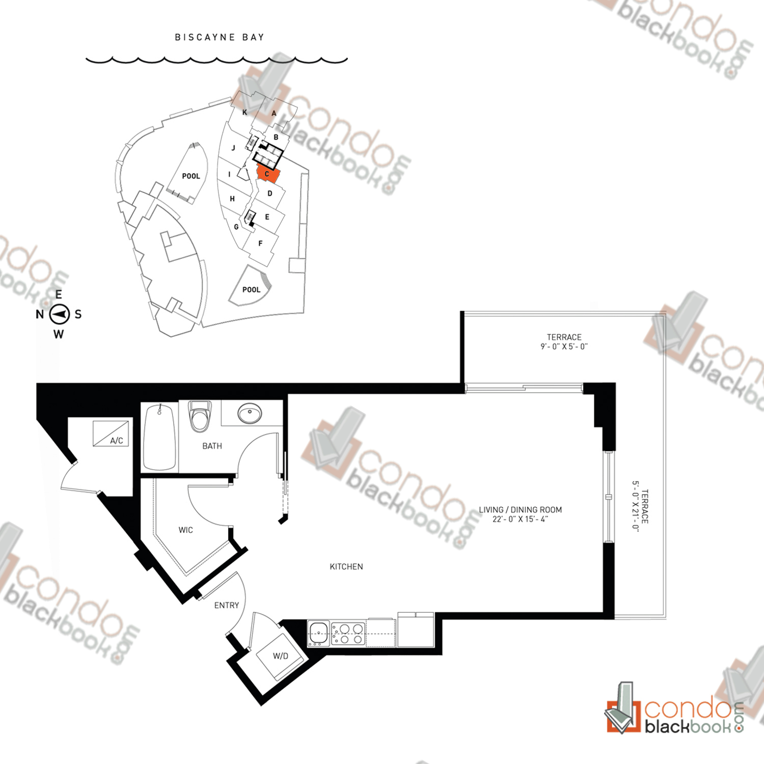 Floor plan for Quantum on the Bay Edgewater Miami, model Residence_C, line South Tower - 05, 0/1 bedrooms, 595 sq ft