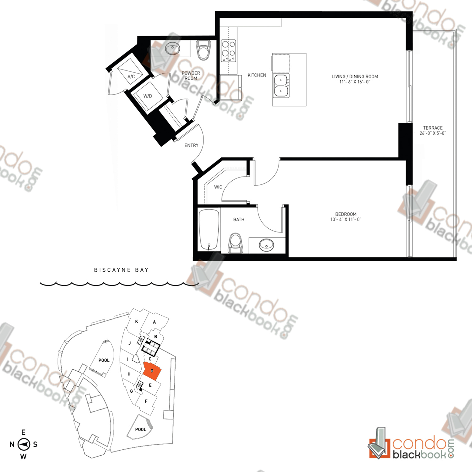 Floor plan for Quantum on the Bay Edgewater Miami, model Residence_D, line South Tower - 07, 1/1.5 bedrooms, 780 sq ft