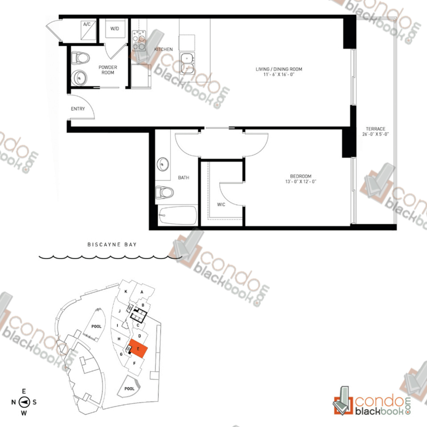 Floor plan for Quantum on the Bay Edgewater Miami, model Residence_E, line South Tower - 09, 1/1.5 bedrooms, 838 sq ft
