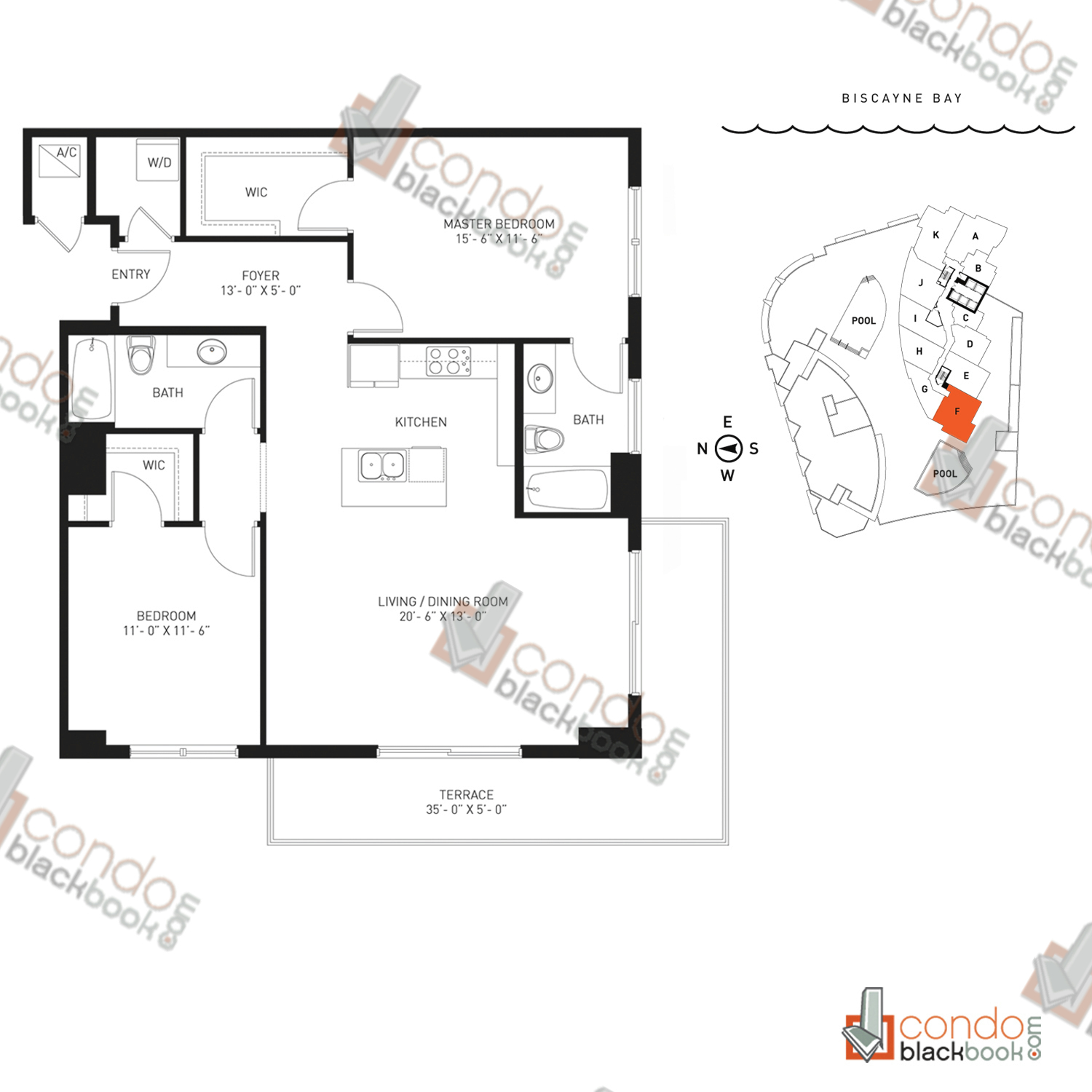 Floor plan for Quantum on the Bay Edgewater Miami, model Residence_F, line South Tower - 11, 2/2 bedrooms, 1,180 sq ft