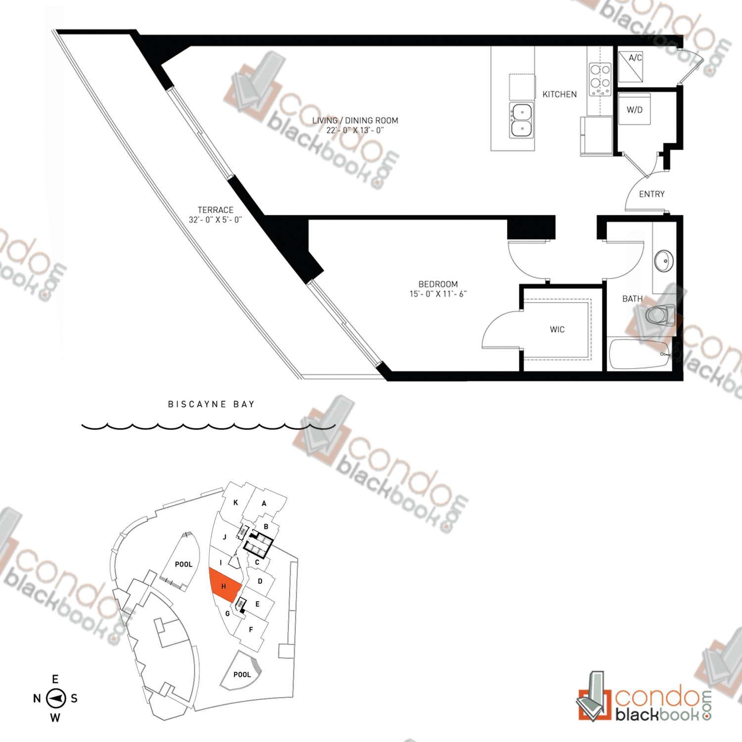 Floor plan for Quantum on the Bay Edgewater Miami, model Residence_H, line South Tower - 08, 1/1 bedrooms, 837 sq ft