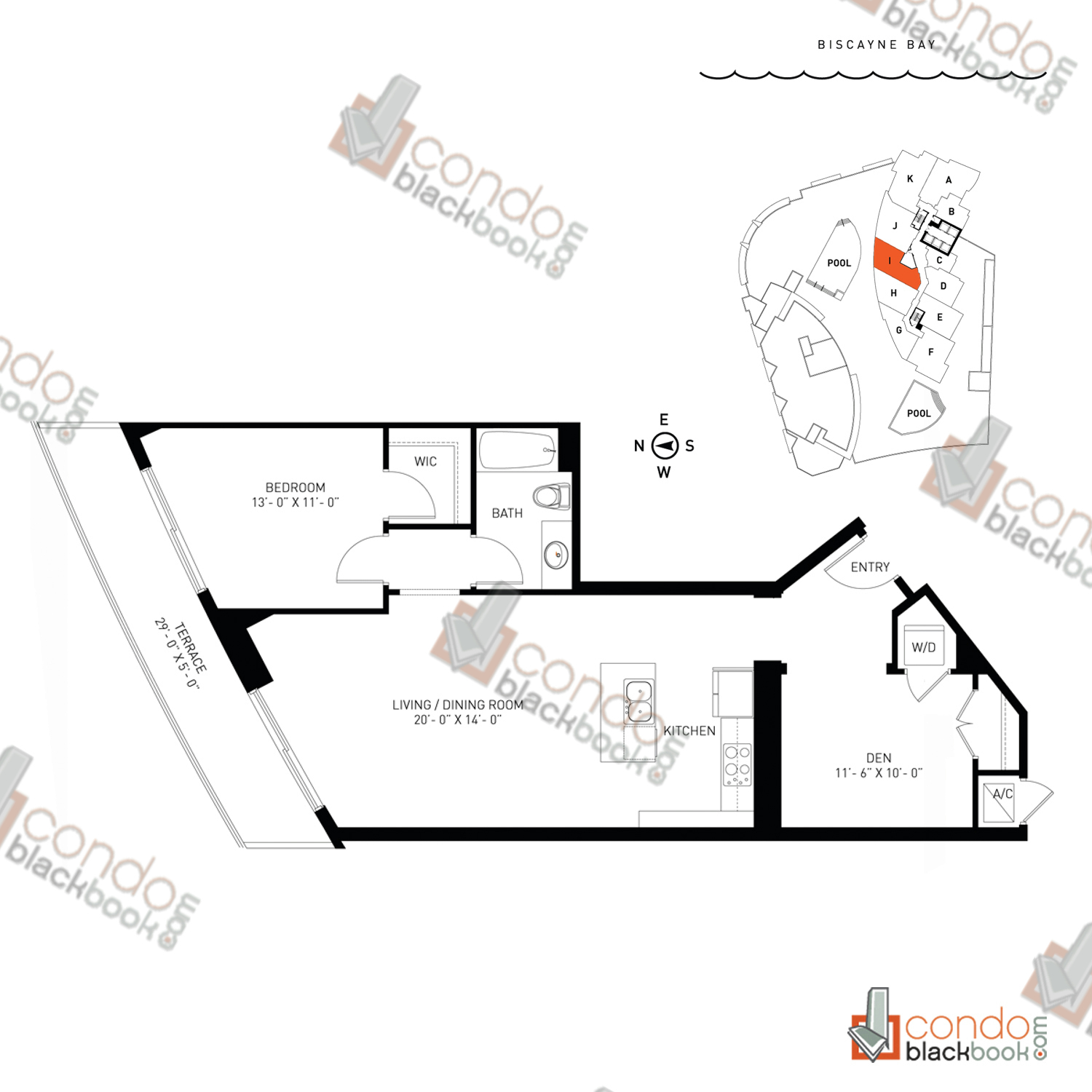 Floor plan for Quantum on the Bay Edgewater Miami, model Residence_I, line South Tower - 06, 1/1+DEN bedrooms, 951 sq ft