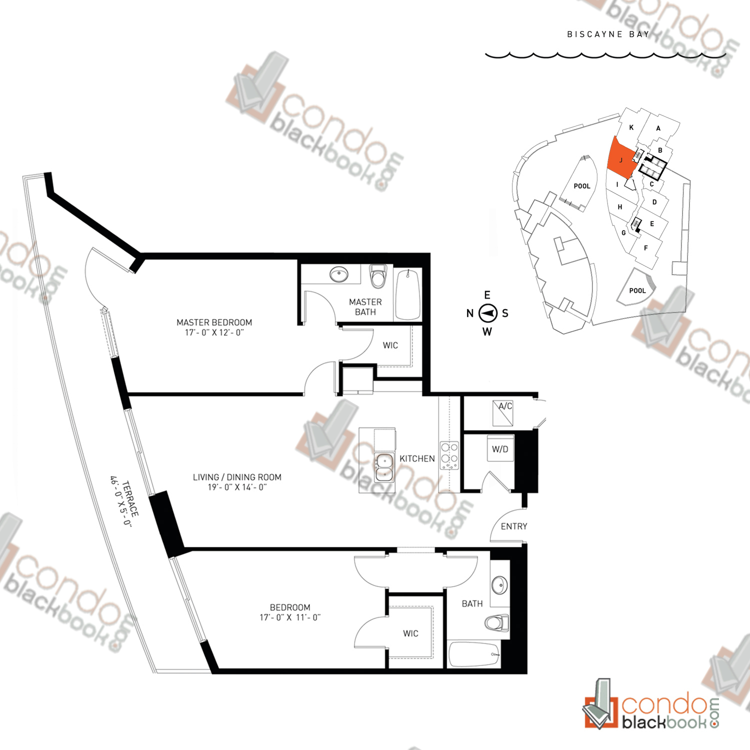Floor plan for Quantum on the Bay Edgewater Miami, model Residence_J, line South Tower - 04, 2/2 bedrooms, 1,239 sq ft