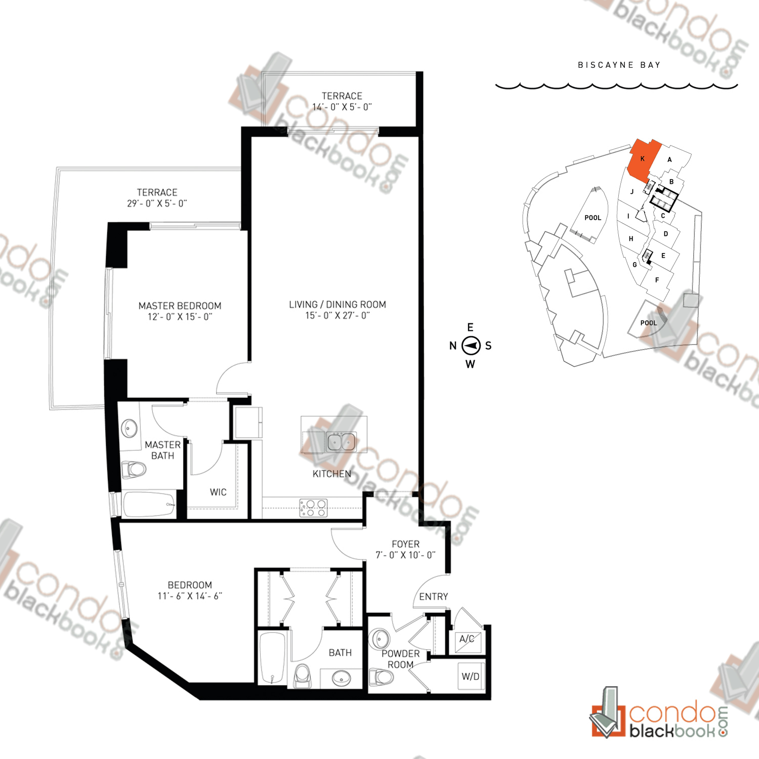 Floor plan for Quantum on the Bay Edgewater Miami, model Residence_K, line South Tower - 02, 2/2.5 bedrooms, 1,400 sq ft