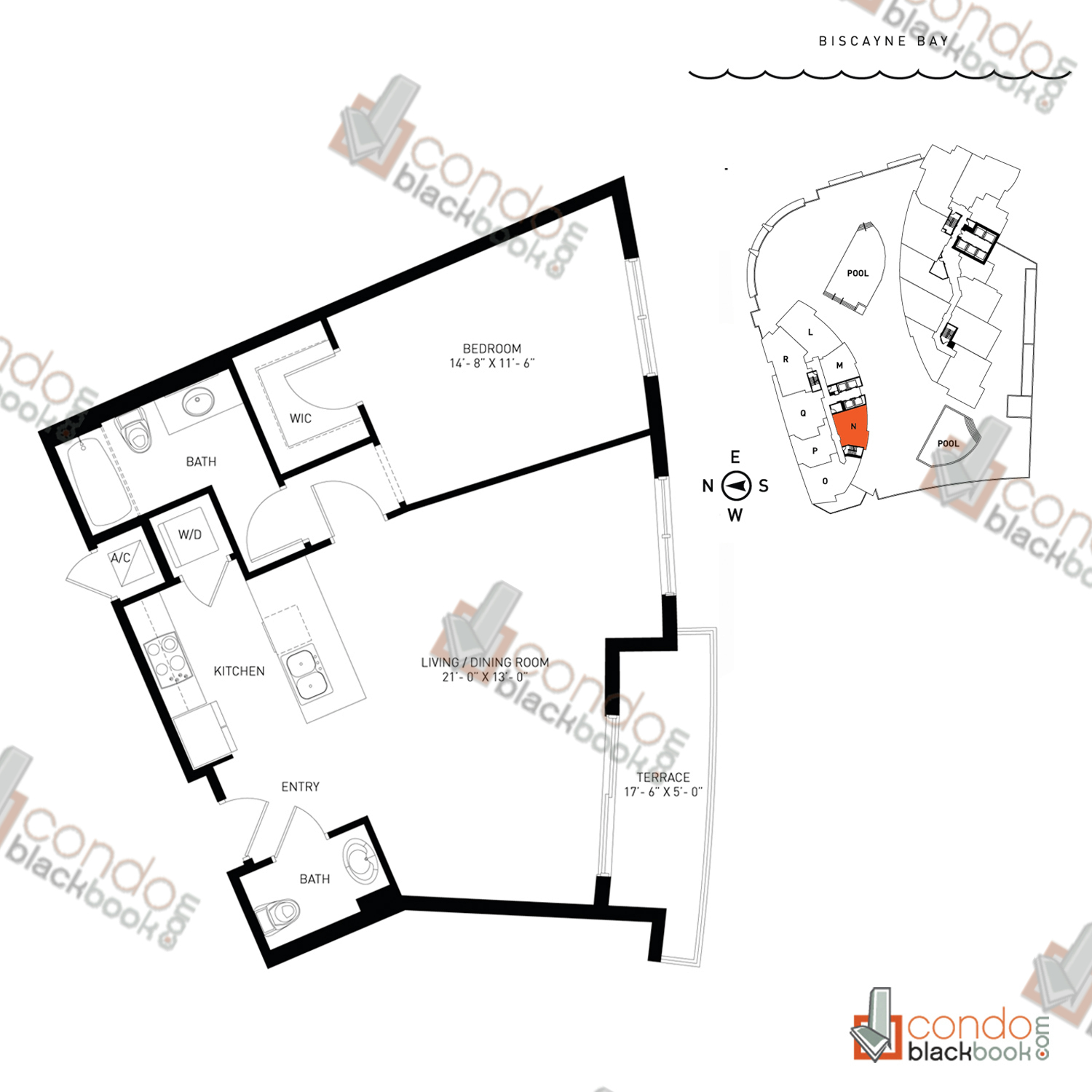 Floor plan for Quantum on the Bay Edgewater Miami, model Residence_N, line North Tower - 19, 1/1.5 bedrooms, 865 sq ft