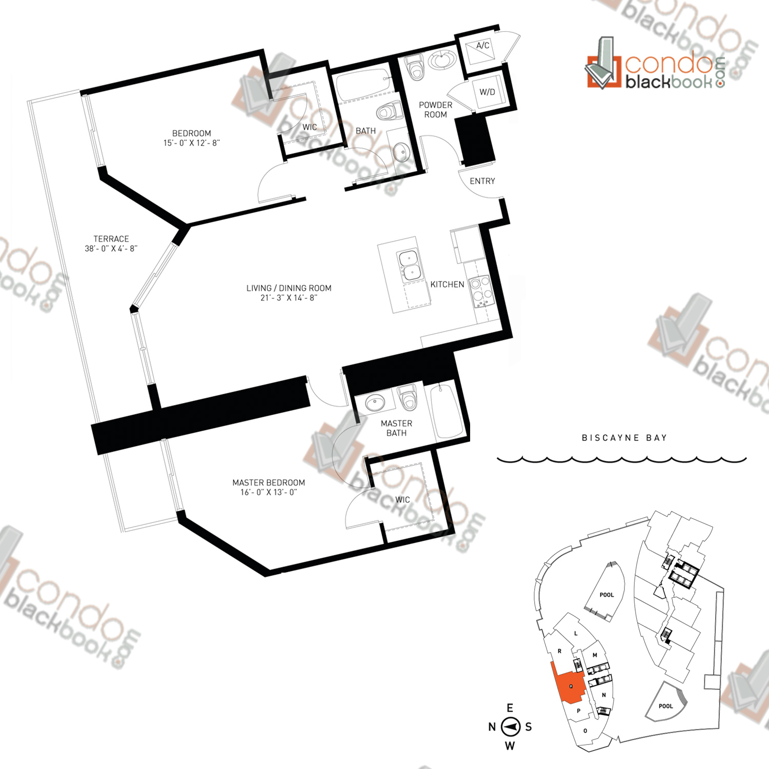 Floor plan for Quantum on the Bay Edgewater Miami, model Residence_Q, line North Tower - 14, 2/2.5 bedrooms, 1,243 sq ft