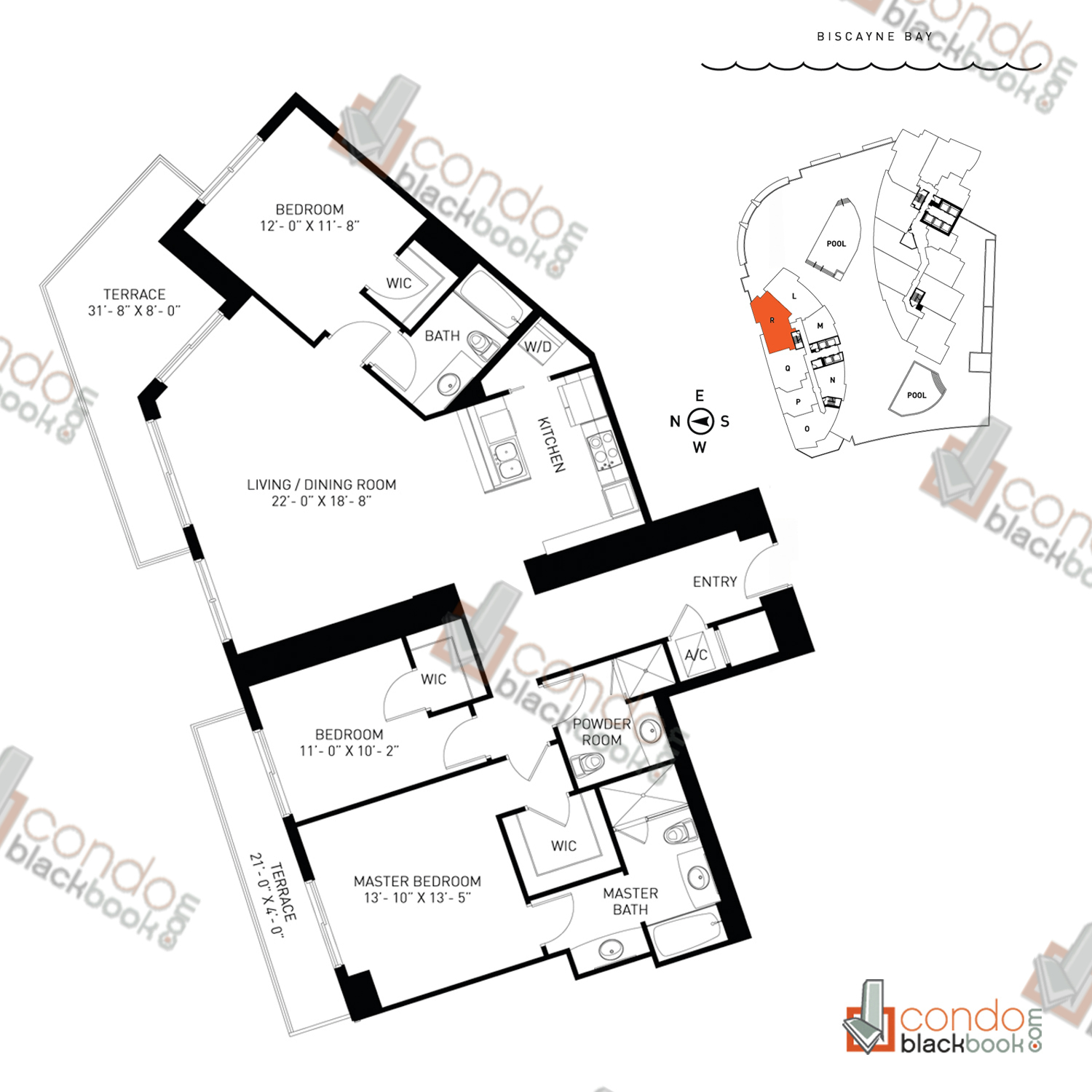 Floor plan for Quantum on the Bay Edgewater Miami, model Residence_R, line 12N, 3/3 bedrooms, 1,620 sq ft