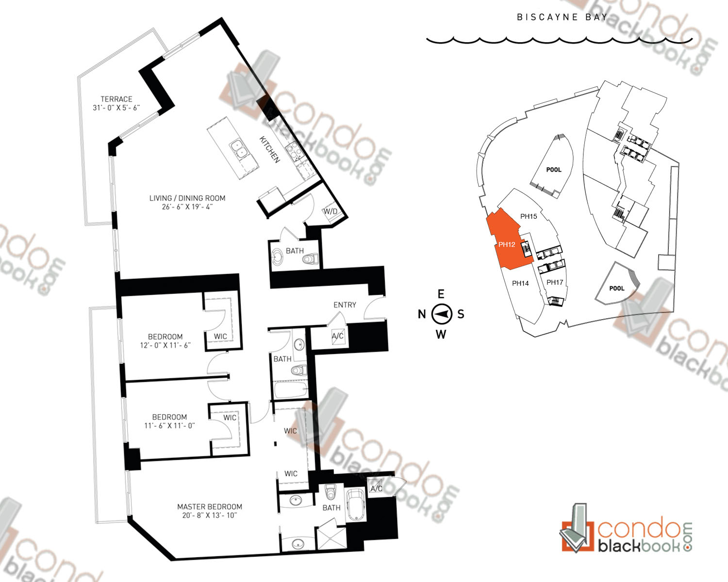 Floor plan for Quantum on the Bay Edgewater Miami, model PH_12, line North Tower - 12, 3/2.5 bedrooms, 2,023 sq ft