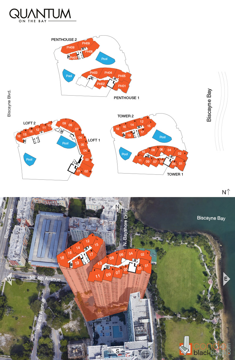Quantum on the Bay floorplan and site plan