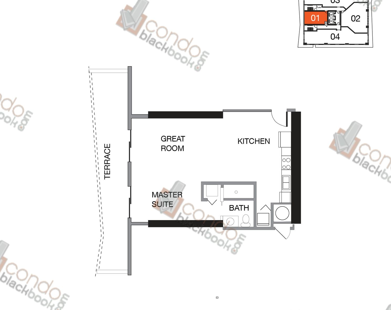 Floor plan for Star Lofts Edgewater Miami, model UNIT 01 (WEST), line 01, 1/1 bedrooms, 556 sq ft