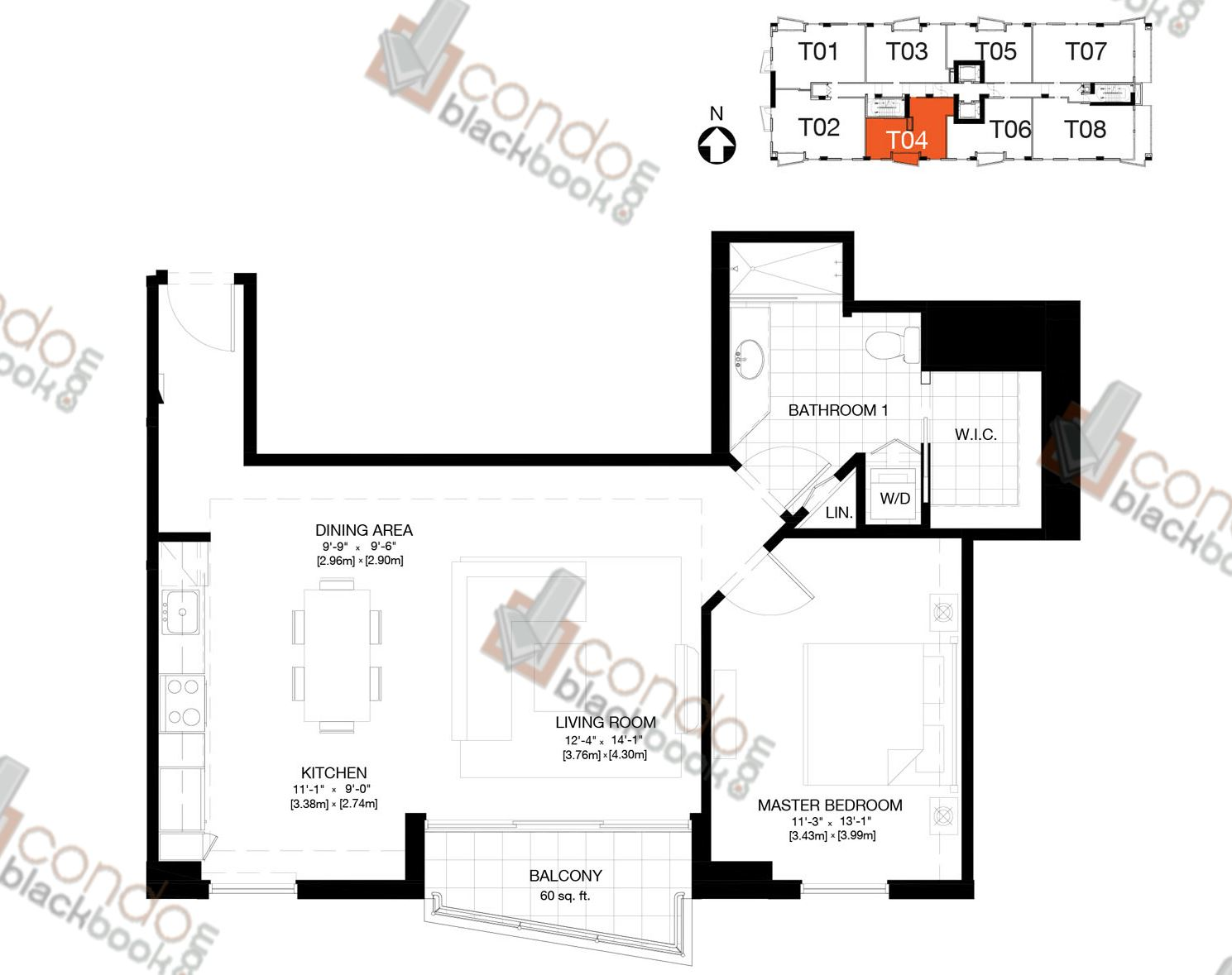 Floor plan for The Crimson Edgewater Miami, model Residence 04, line 04, 1/1+DEN bedrooms, 827 sq ft