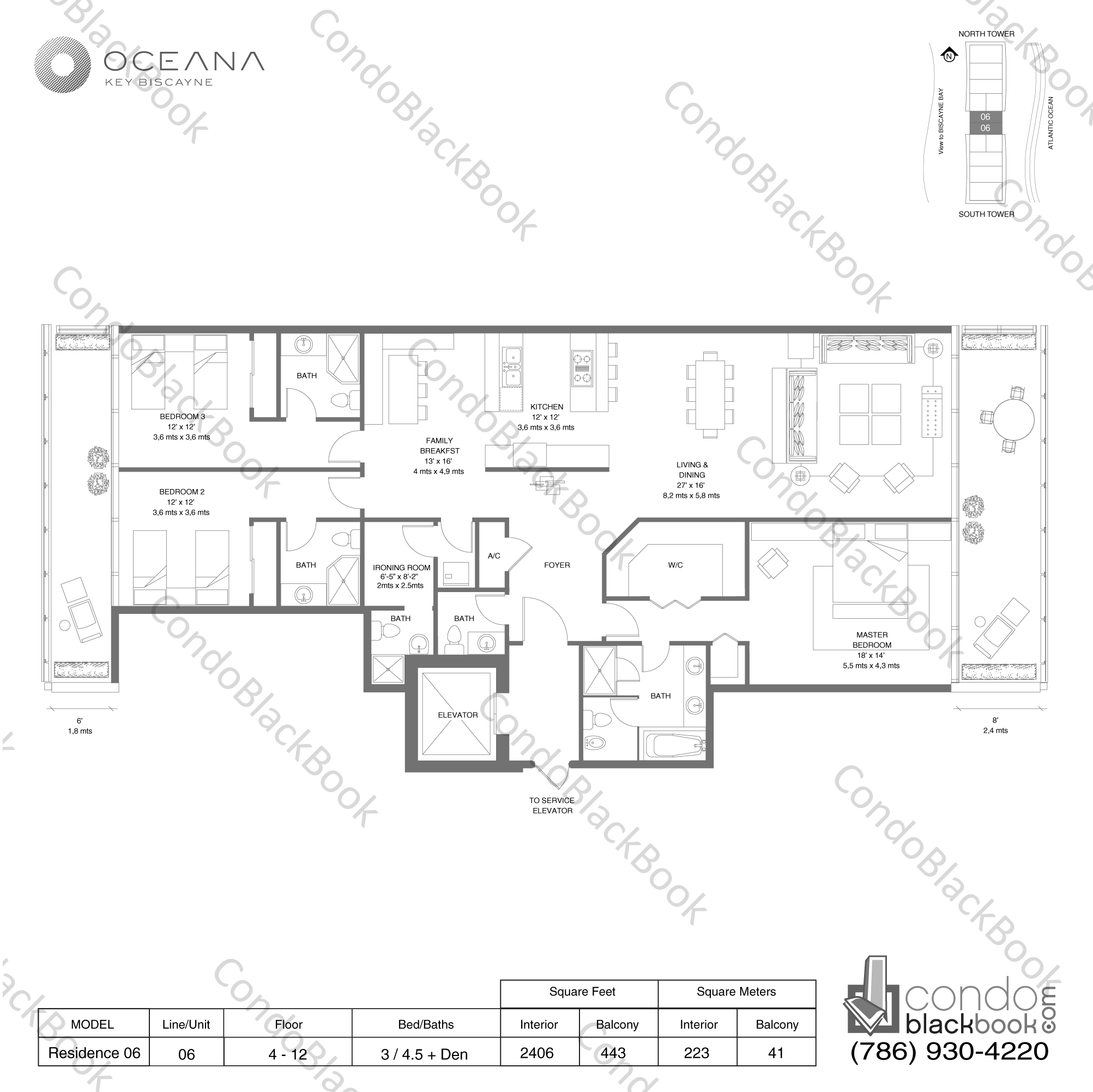 Oceana key biscayne unit 506n condo for rent in key for Floor plans 900 biscayne