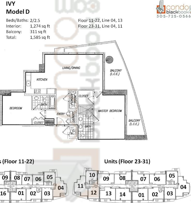 Floor plan for Ivy Miami River Miami, model D, line 04, 13 (Floor 11-22); 04, 11 (Floor 23-31), 2/2.5 bedrooms, 1,274 sq ft