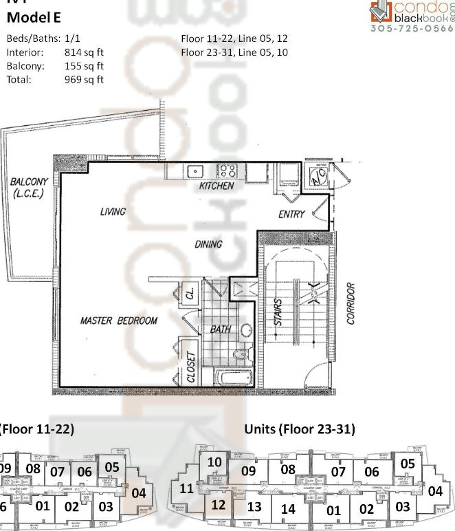Floor plan for Ivy Miami River Miami, model E, line 05, 12 (Floor 11-22); 05, 10 (Floor 23-31), 1/1 bedrooms, 814 sq ft
