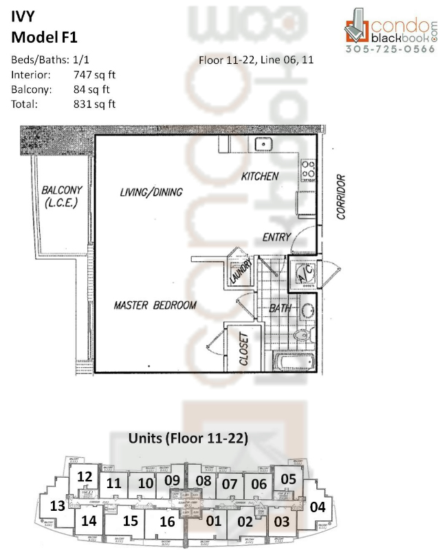 Floor plan for Ivy Miami River Miami, model F1, line 06, 11, 1/1 bedrooms, 747 sq ft