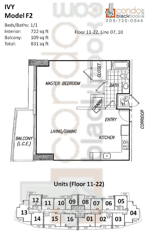 Floor plan for Ivy Miami River Miami, model F2, line 07, 10, 1/1 bedrooms, 722 sq ft