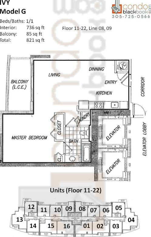 Floor plan for Ivy Miami River Miami, model G, line 08, 09, 1/1 bedrooms, 736 sq ft