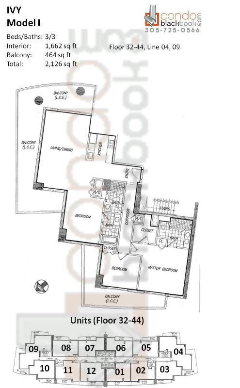 Floor plan for Ivy Miami River Miami, model I, line 04, 09, 3/3 bedrooms, 1,662 sq ft