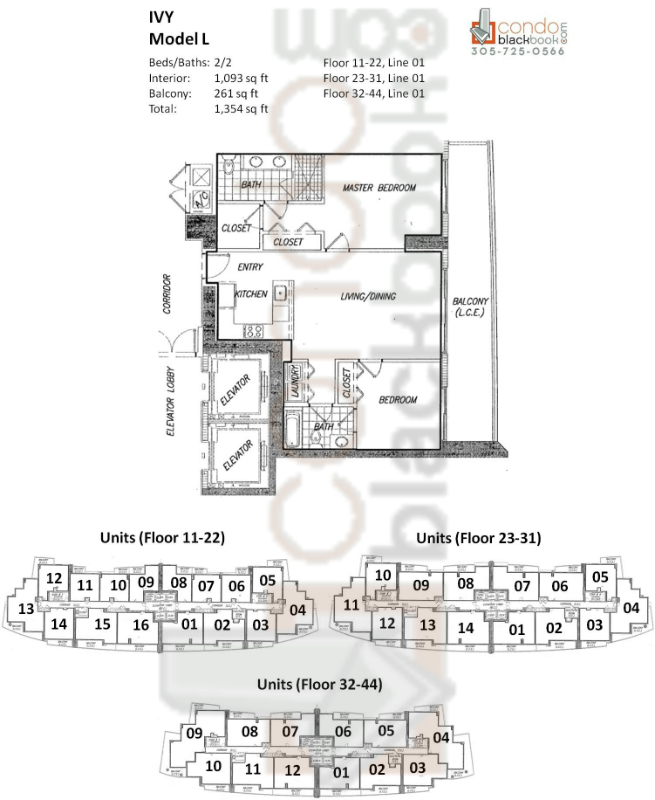 Floor plan for Ivy Miami River Miami, model L, line 01(Floor 11-22); 01(Floor 23-31); 01(Floor 32-44), 2/2 bedrooms, 1,093 sq ft