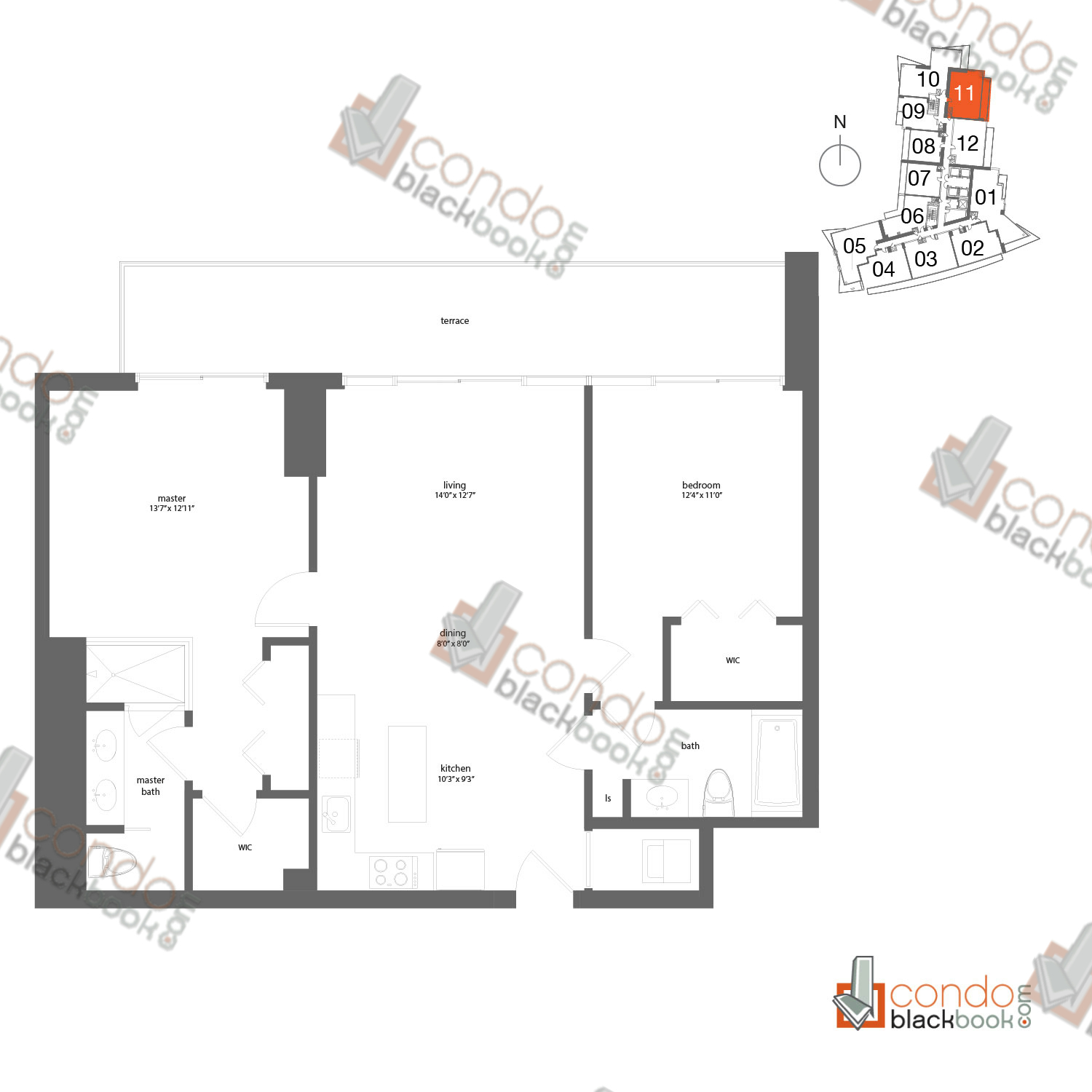 Floor plan for Mint Miami River Miami, model 11, line 11, 2/2 bedrooms, 1,118 sq ft