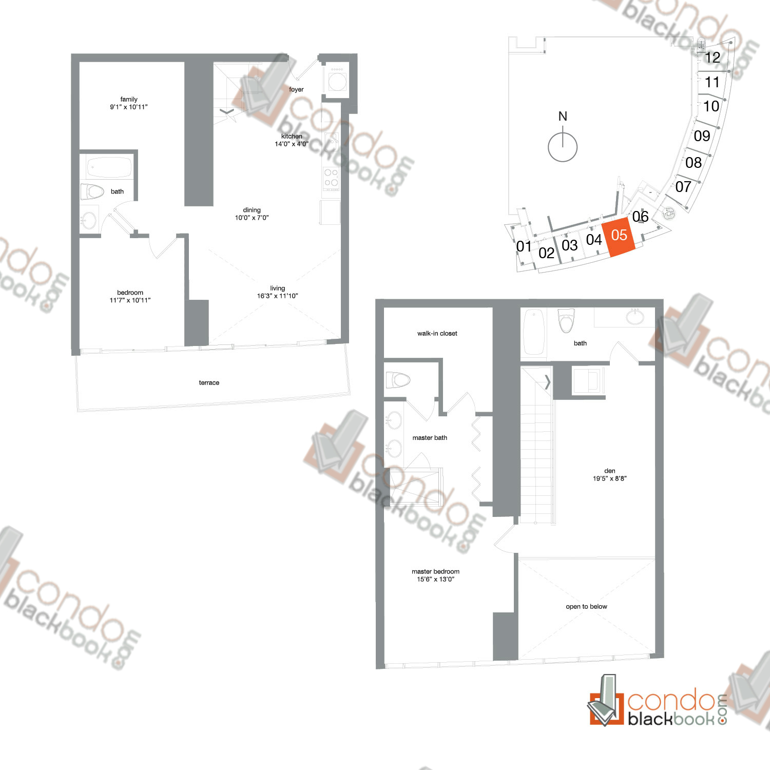 Floor plan for Mint Miami River Miami, model TH05, line 05, 2/3+Den+Family bedrooms, 1,683 sq ft
