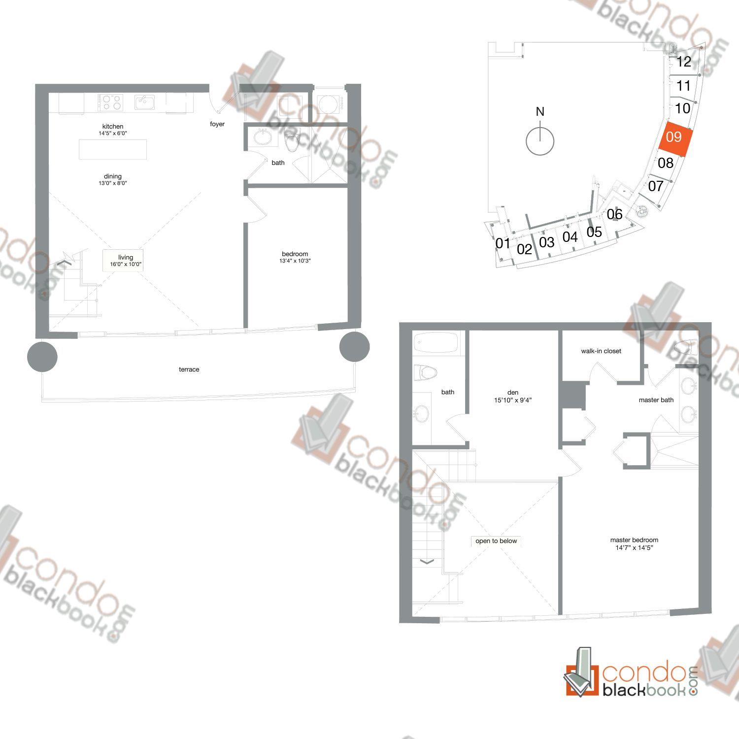 Floor plan for Mint Miami River Miami, model TH09, line 09, 2/3+Den bedrooms, 1,474 sq ft