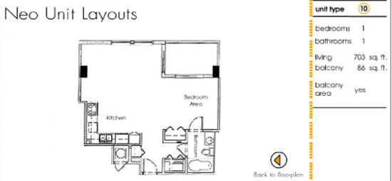 Floor plan for Neo Lofts Miami River Miami, model 10, line 10, 1 bed 1 bath + Balcony bedrooms, 703 sq ft