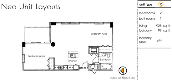 Floor plan for Neo Lofts Miami River Miami, model 15, line 15, 2 bed 1 bath + Balcony bedrooms, 925 sq ft